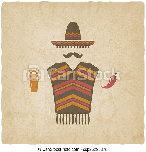 Mexican man with tequila and chili pepper - csp25295378