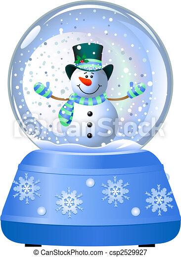 Snowman in Snow Globe - csp2529927