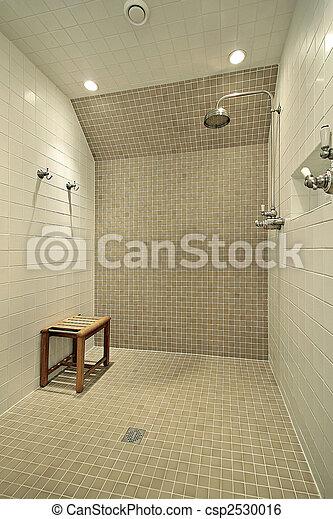 image de grand douche banc large douche dans maison luxe csp2530016 recherchez. Black Bedroom Furniture Sets. Home Design Ideas
