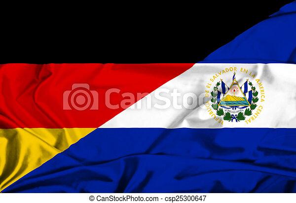 Drawing of Waving flag of El Salvador and Germany ...