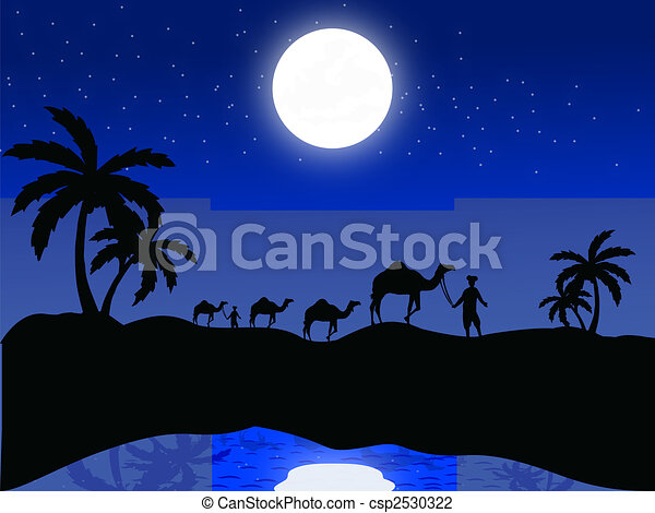 silhouette view of camels and human in moonlight - csp2530322