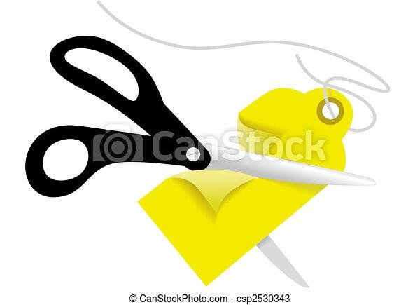 Scissors cut a retail business Price Tag - csp2530343