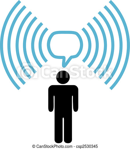 Wifi symbol man talks on wireless network - csp2530345