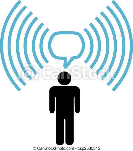 Wifi symbol man talks on wireless network - csp2530345