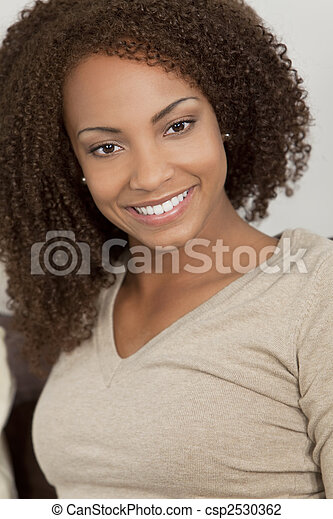 Beautiful Mixed Race African American Girl With Perfect Smile - csp2530362