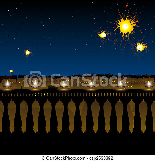 hindu festival diwali, lighting of lamp and fireworks - csp2530392