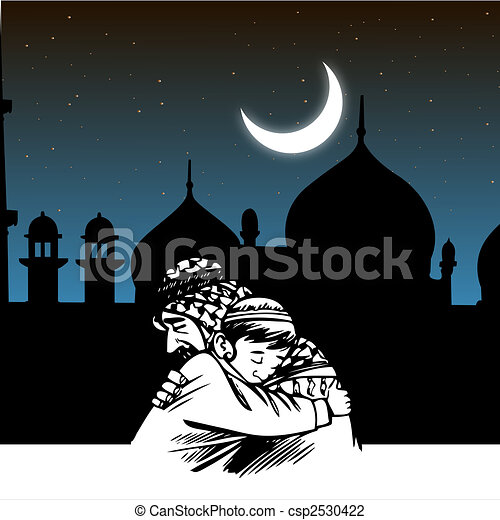 embracing, ramadaan, eid, mosque, festival csp2530422 - Search Clipart ...