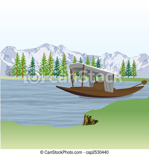 Stock Illustration of landscape view of boat with lake and mountains ...