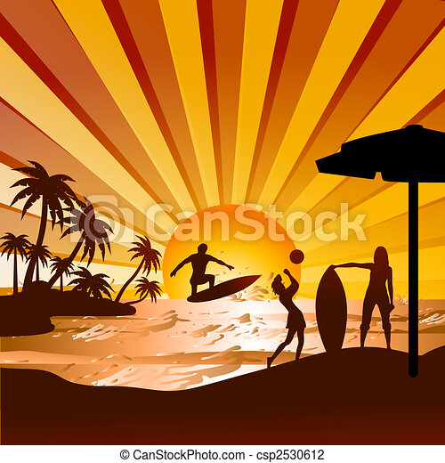 silhouette of beach with human surfing,playing volleyball, view of coconut trees  - csp2530612