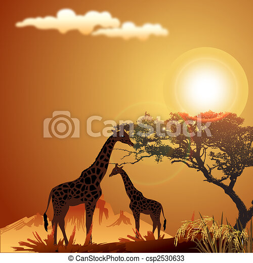 dessins de girafe soleil silhouette jungle paysage silhouette csp2530633 recherchez. Black Bedroom Furniture Sets. Home Design Ideas