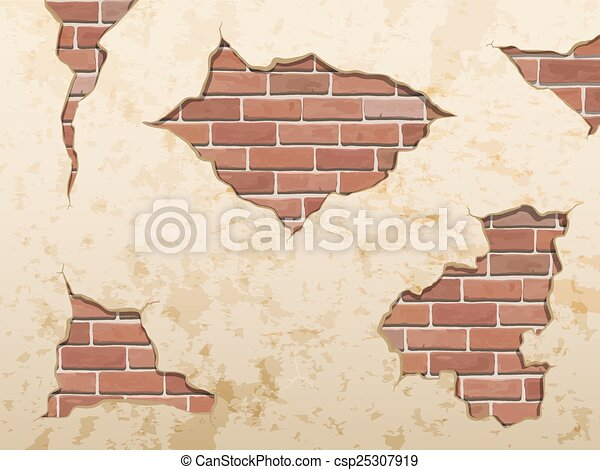 old shabby concrete and brick crack - csp25307919