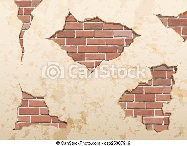 Vector clip art of old shabby concrete and brick crack for Grietas en paredes interiores
