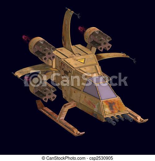 futuristic transforming scifi robot and spaceship  - csp2530905