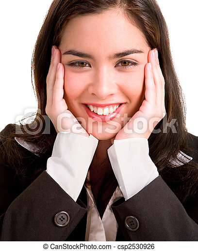 Young Business Woman Pleasantly Surprised - csp2530926