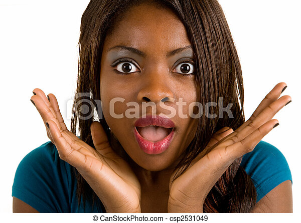 African American Woman Surprised about Something - csp2531049