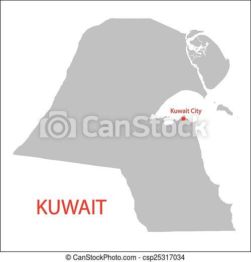 Kuwait Map Vector Vector Grey Map of Kuwait