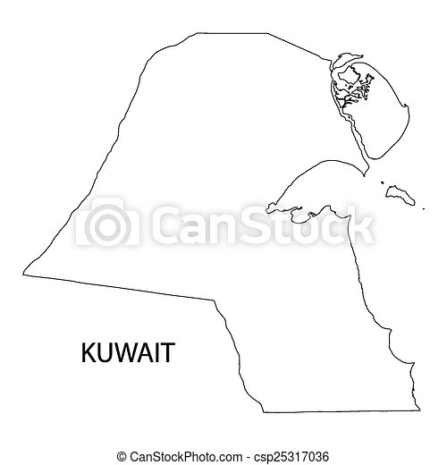 Kuwait Map Vector Vector Outline of Kuwait Map
