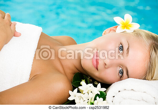 Beautiful young woman in spa - csp2531982