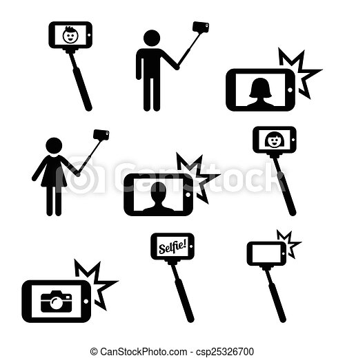 vector clipart of selfie stick with mobile phone vector icons set of people csp25326700. Black Bedroom Furniture Sets. Home Design Ideas