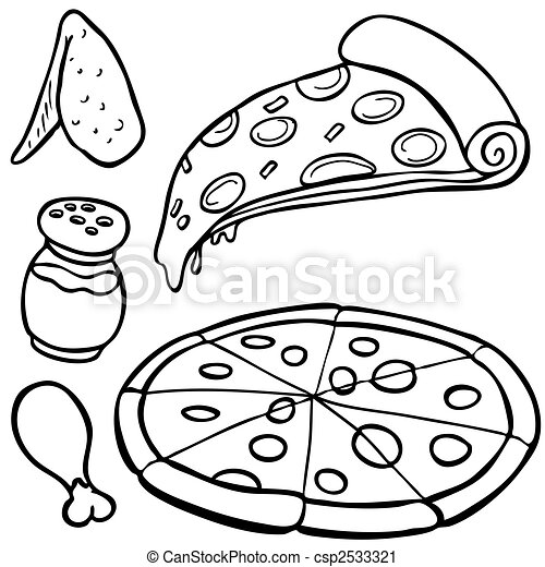 pizza Food Items line art - csp2533321