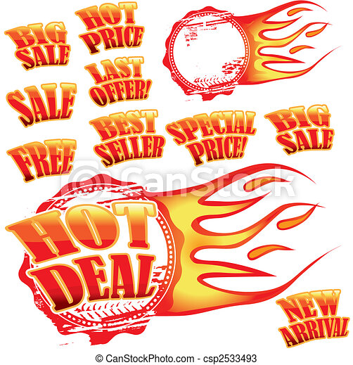 Flaming sale stickers and rubber stamp - csp2533493