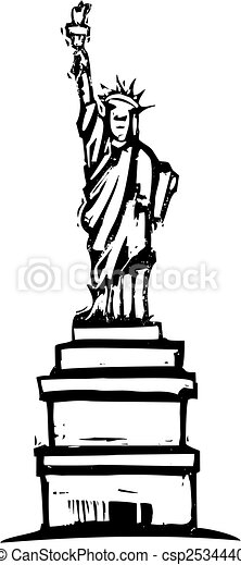 Vector Clipart of Statue of Liberty - Woodcut image of the statue ...