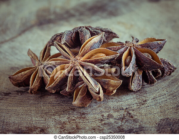 star anise on wood background