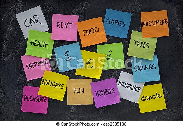 household finance word cloud on blackboard - csp2535136
