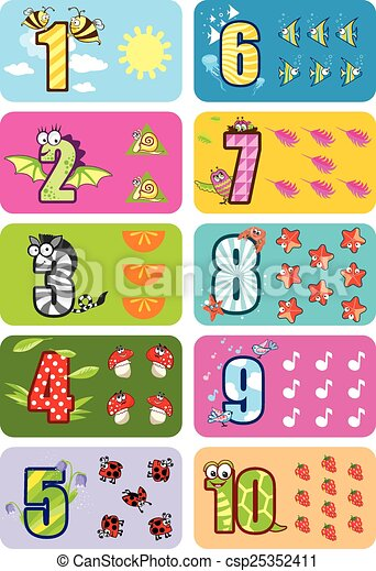 Vector Clip Art of Baby numbers - Funny children illustration for ...