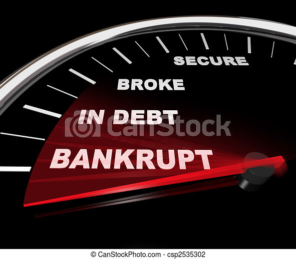 Plunging into Bankruptcy - Financial Speedometer - csp2535302