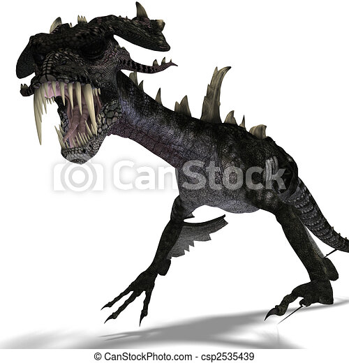 giant terrifying dragon with wings and horns attacks - csp2535439