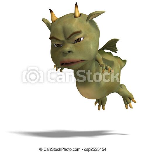 little green cute toon dragon devil - csp2535454