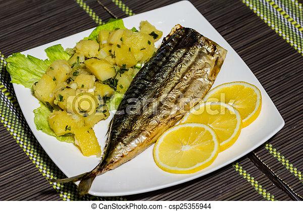 Fresh mackerel fillet with boiled potato and lemon