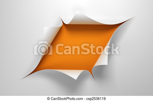 Sheet of paper with the hole in the middle - csp2536119