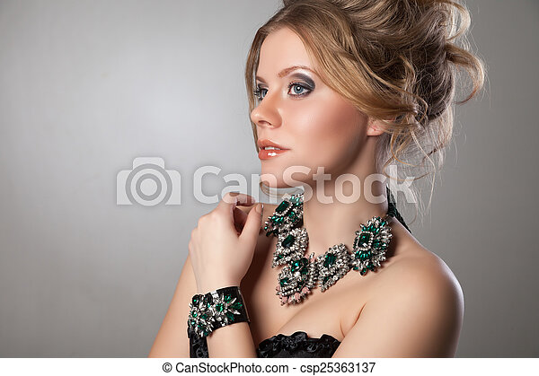 Portrait of beautiful woman with evening make-up.
