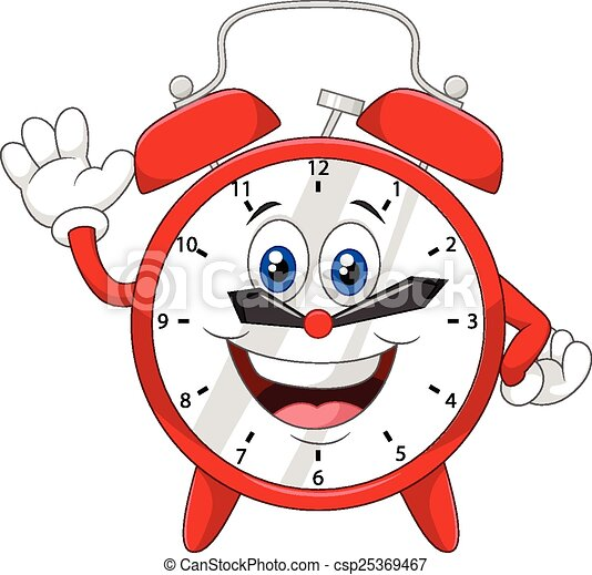 Cartoon clock waving hand  - csp25369467