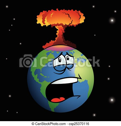 Nuclear weapon exploding on cartoon Earth  - csp25370116