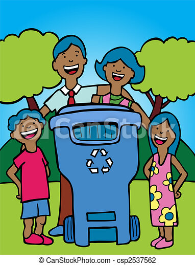 recycling bin family ethnic - csp2537562
