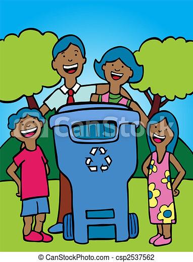recycling bin family ethnic - csp2537562