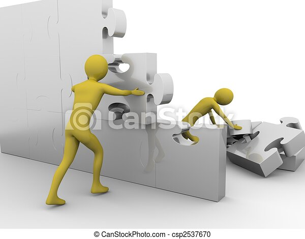 Team is building up a jigsaw wall - csp2537670