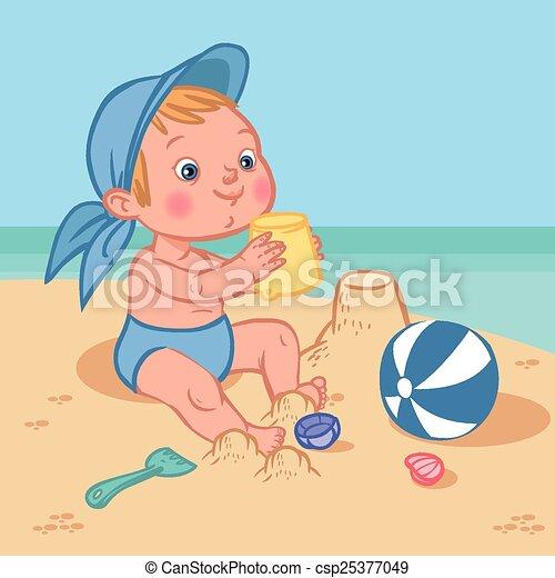 EPS vector de divertido, lindo, caricatura, bebé, juego, playa ...