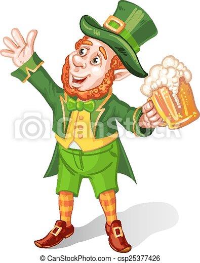 Vector Illustration of Leprechaun Drinking Beer-St ...