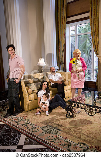 Portrait of multi-generation family at home - csp2537964