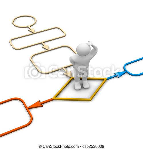 Choice inside diagram. 3d rendered illustration isolated on white. - csp2538009