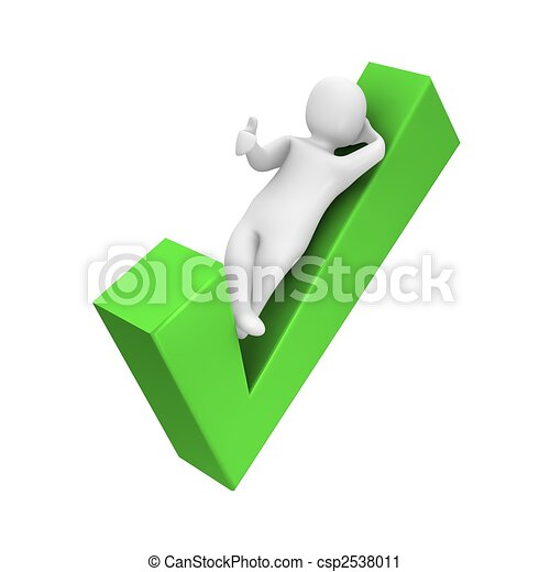Man laying on check mark. 3d rendered illustration. - csp2538011