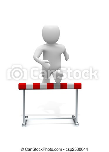 Man jumping over the hurdle. 3d rendered illustration. - csp2538044