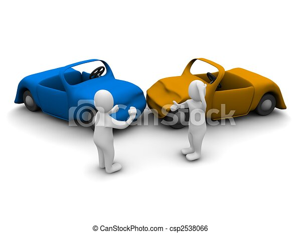 Car accident. 3d rendered illustration isolated on white. - csp2538066