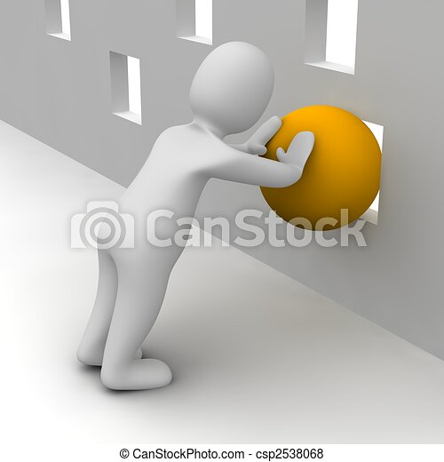 Man trying push orange ball through small hole. 3d rendered illustration. - csp2538068