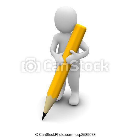 Man holding pencil. 3d rendered illustration. - csp2538073