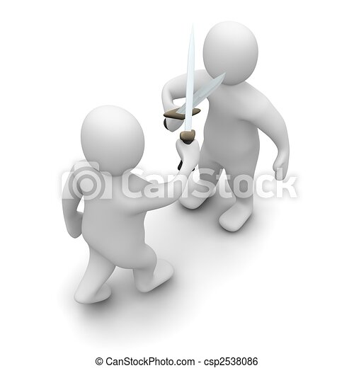 Fighting with swords. 3d rendered illustration isolated on white. - csp2538086